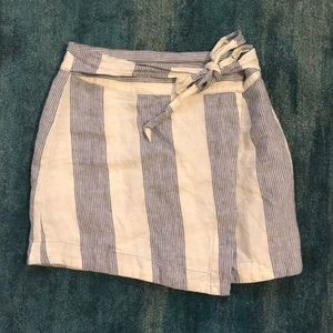 Free People Linen Striped Wrap Skirt